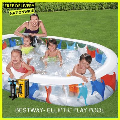 BESTWAY- ELLIPTIC PLAY POOL + Manual Pump