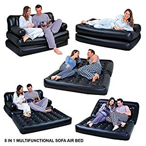 5 In 1 Inflatable Multi function Double Air Bed Sofa Chair Couch Lounger Bed Mattress With Electric Pump