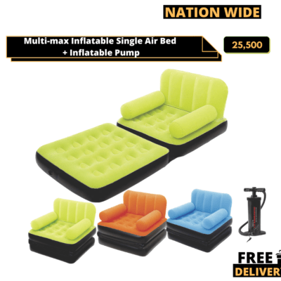 Multi-max Inflatable Single Air Bed Couch/Sofa Lounger + Manual Pump